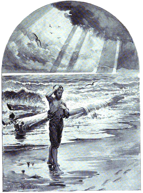 """(public domain) Illustration by H. Winthrop Peirce for """"The Psalm of Life"""" by Henry Wadsworth Longfellow"""