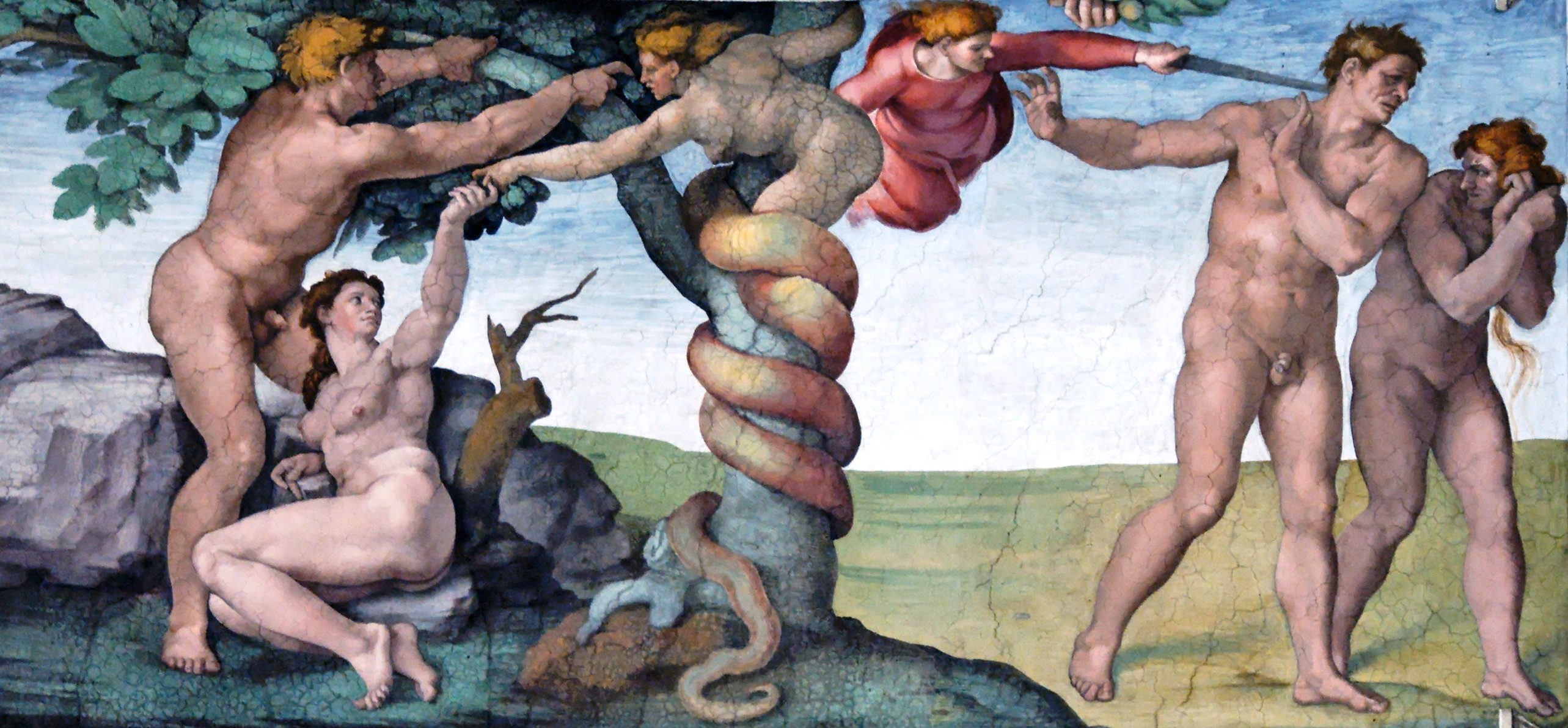 Adam and Eve - Sistine Chapel - Michelangelo (Public Domain)