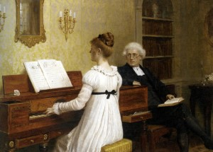 The Piano Lesson - Edmond Blair Leighton (Public Domain)